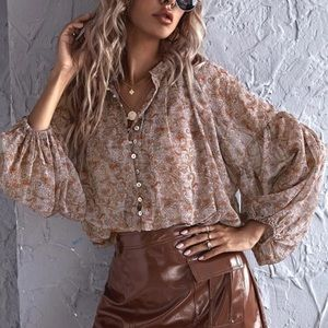 Button up paisley lantern sleeve top boho gypsy